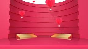 原创粉色热气球3D促销场景
