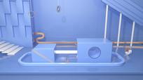 原创蓝色大气3D电商场景