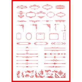 中国风边框欧式花纹红色相框矢量花边装饰框
