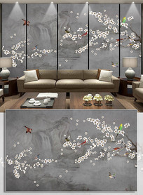 古典国画中式梅花工笔花鸟背景墙