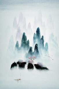 水墨山林玄关装饰画
