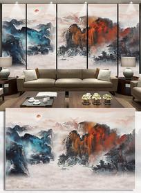 抽象水墨山水新中式水墨画背景墙装饰画