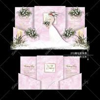 粉色婚礼舞台宴会效果图设计浪漫迎宾区背景