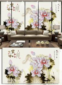 荷花浮雕背景墙家和富贵客厅装饰画