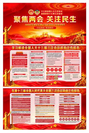 红色大气全国两会政府工作报告展板