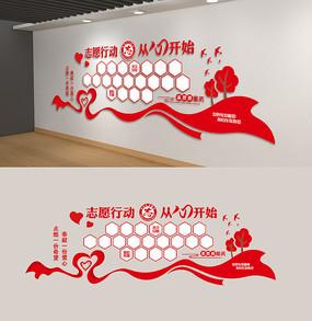 红色志愿者服务站社区志愿者风采文化墙