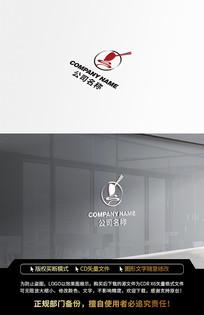 红色中国风圆形大米LOGO标志设计