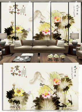 家和富贵荷花水墨画电视背景墙装饰画
