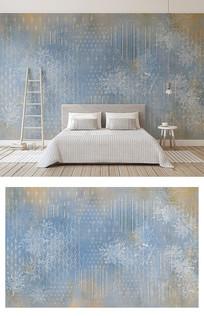 简约线条树叶花纹暗纹北欧蓝调电视背景墙