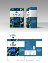 蓝色花茶包装设计