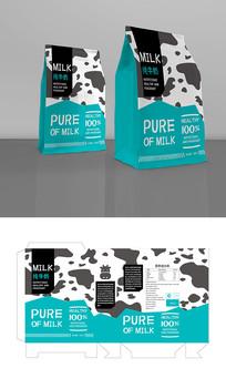 青色牛奶包装设计