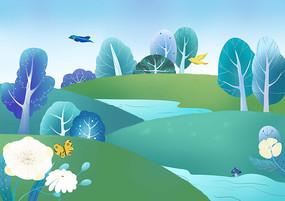 森系小清新绿色风景树林原创手绘插画
