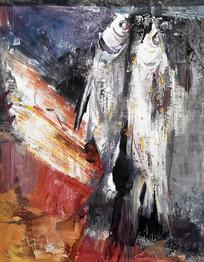 手绘名族手工艺捕鱼油画图
