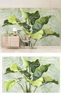 手绘树叶清新绿色背景墙窗帘抱枕图案设计