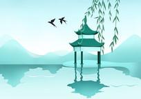 小清新户外风景亭子远山湖边倒影
