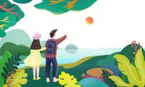 小清新绿色春季风景户外郊游男女情侣