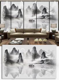 禅意抽象水墨山水电视背景墙装饰画