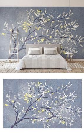原创树枝叶子素雅新中式背景墙窗帘抱枕图案