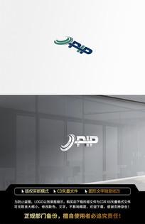 圆形深色字母PIPLOGO标志设计