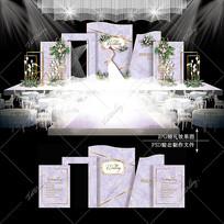 紫色大理石婚礼效果图设计高端大气婚庆