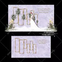 紫色大理石婚礼效果图设计婚庆舞台迎宾区