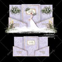 紫色系大理石婚礼效果图设计婚庆迎宾区背景