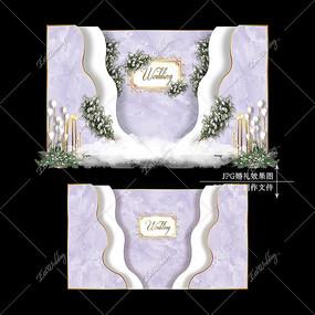 紫色主题婚礼效果图设计大理石婚庆迎宾背景