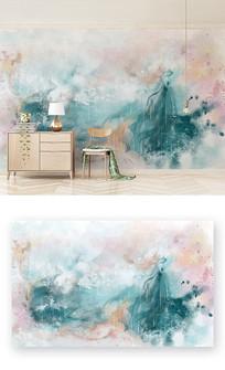 抽象纹理麋鹿山水彩色春意电视背景墙
