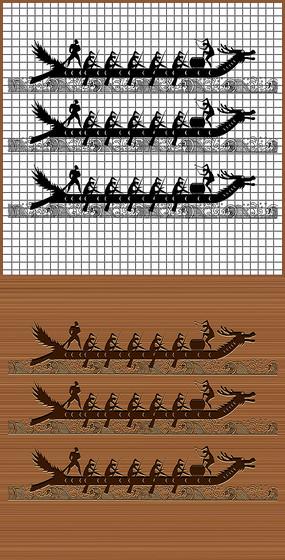 端午赛龙舟矢量雕刻素材图