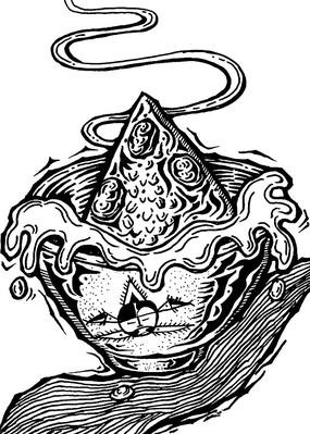 黑白粽子抽象装饰插画