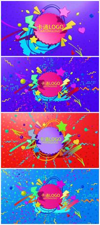 卡通动画风格logo视频片头模板