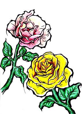 玫瑰花手绘稿