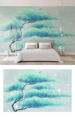 手绘抽象薄荷绿一棵树简约北欧电视背景墙