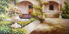 手绘欧式别墅风景油画无框画
