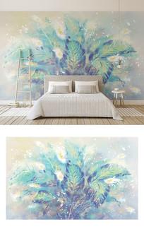 手绘油画风格薄荷绿叶子花卉电视背景墙
