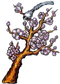 桃花和喜鹊手绘图片