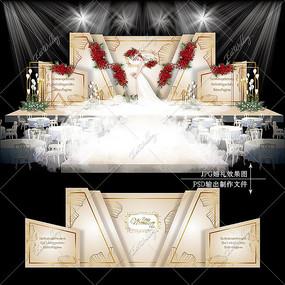 香槟色婚礼效果图设计高端大气婚庆舞台背景
