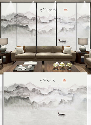新中式山水画电视背景墙