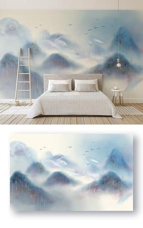 新中式意境山水彩色抽象纹理飞鸟电视背景墙