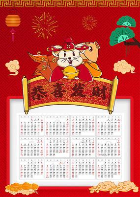原创红色喜庆恭喜发财鼠年日历