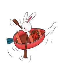 原创可爱卡通兔子划船