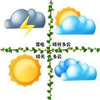 原创天气雷电阴天多云晴天图标