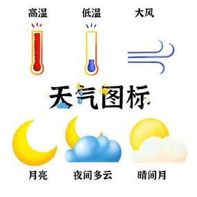 原创温度高温低温大风多云天气图标