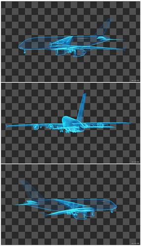 航空飛機線框圖透明通道無縫循環視頻素材