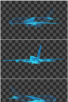 航空飞机线框图透明通道无缝循环视频素材