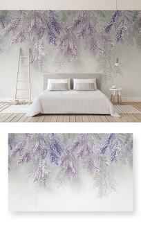 简约浮雕花朵3d立体新中式卧室背景墙