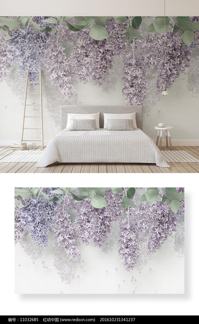 简约浮雕花朵装饰画3d立体电视背景墙图片