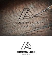 简约线条A字LOGO商标设计