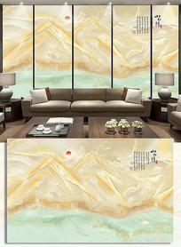 山水情大理石纹电视背景墙山水装饰画