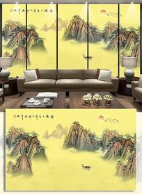 水墨山河国画电视背景墙黄山风景画